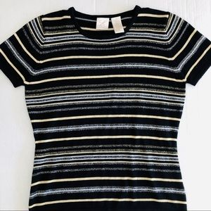 Black sweater with gold silver shiny threads NWT
